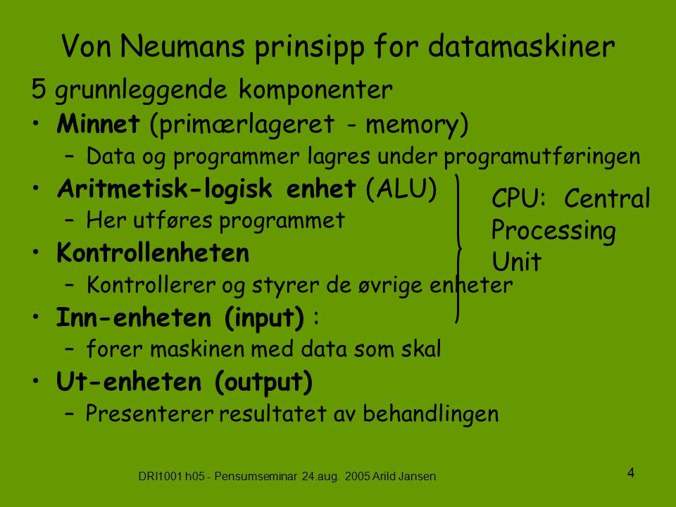 DRI1001 h05 - Pensumseminar 24.aug. 2005 Arild Jansen 4 Von Neumans prinsipp for datamaskiner 5 grunnleggende komponenter Minnet (primærlageret - memo