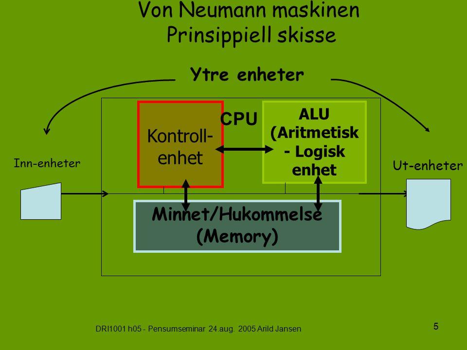 DRI1001 h05 - Pensumseminar 24.aug. 2005 Arild Jansen 5 Von Neumann maskinen Prinsippiell skisse ALU (Aritmetisk - Logisk enhet Minnet/Hukommelse (Mem