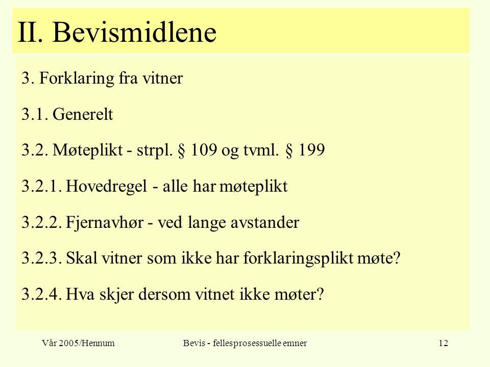Vår 2005/HennumBevis - fellesprosessuelle emner12 II. Bevismidlene 3. Forklaring fra vitner 3.1. Generelt 3.2. Møteplikt - strpl. § 109 og tvml. § 199