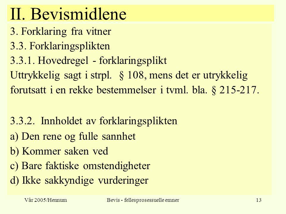 Vår 2005/HennumBevis - fellesprosessuelle emner13 II. Bevismidlene 3. Forklaring fra vitner 3.3. Forklaringsplikten 3.3.1. Hovedregel - forklaringspli