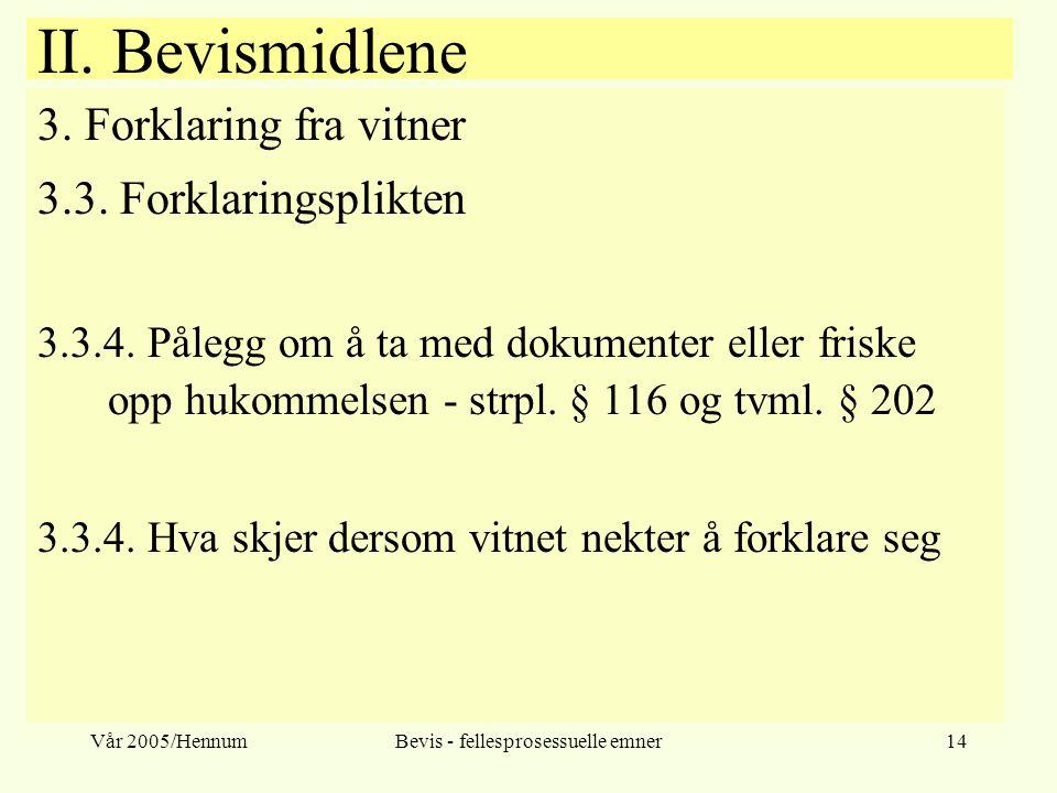 Vår 2005/HennumBevis - fellesprosessuelle emner14 II. Bevismidlene 3. Forklaring fra vitner 3.3. Forklaringsplikten 3.3.4. Pålegg om å ta med dokument