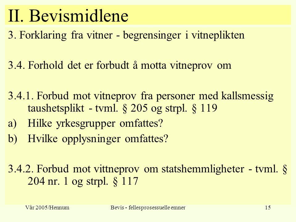 Vår 2005/HennumBevis - fellesprosessuelle emner15 II. Bevismidlene 3. Forklaring fra vitner - begrensinger i vitneplikten 3.4. Forhold det er forbudt