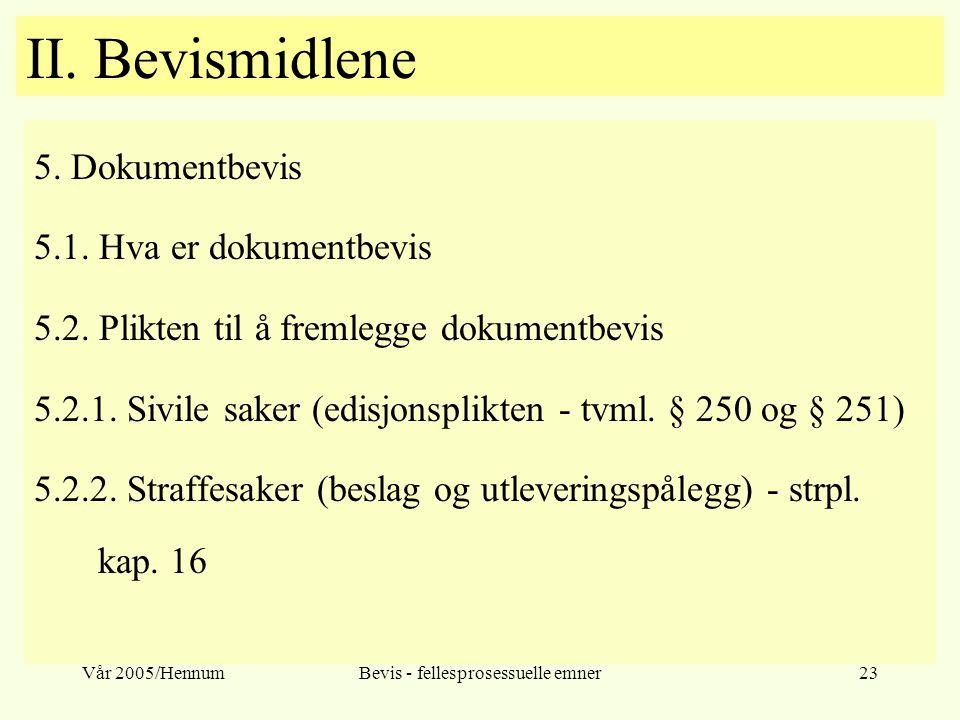 Vår 2005/HennumBevis - fellesprosessuelle emner23 II. Bevismidlene 5. Dokumentbevis 5.1. Hva er dokumentbevis 5.2. Plikten til å fremlegge dokumentbev