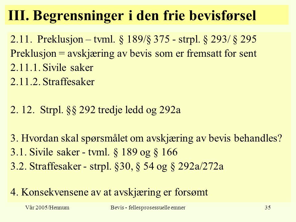 Vår 2005/HennumBevis - fellesprosessuelle emner35 III. Begrensninger i den frie bevisførsel 2.11. Preklusjon – tvml. § 189/§ 375 - strpl. § 293/ § 295