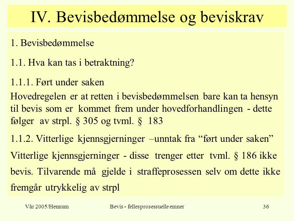 Vår 2005/HennumBevis - fellesprosessuelle emner36 IV. Bevisbedømmelse og beviskrav 1. Bevisbedømmelse 1.1. Hva kan tas i betraktning? 1.1.1. Ført unde