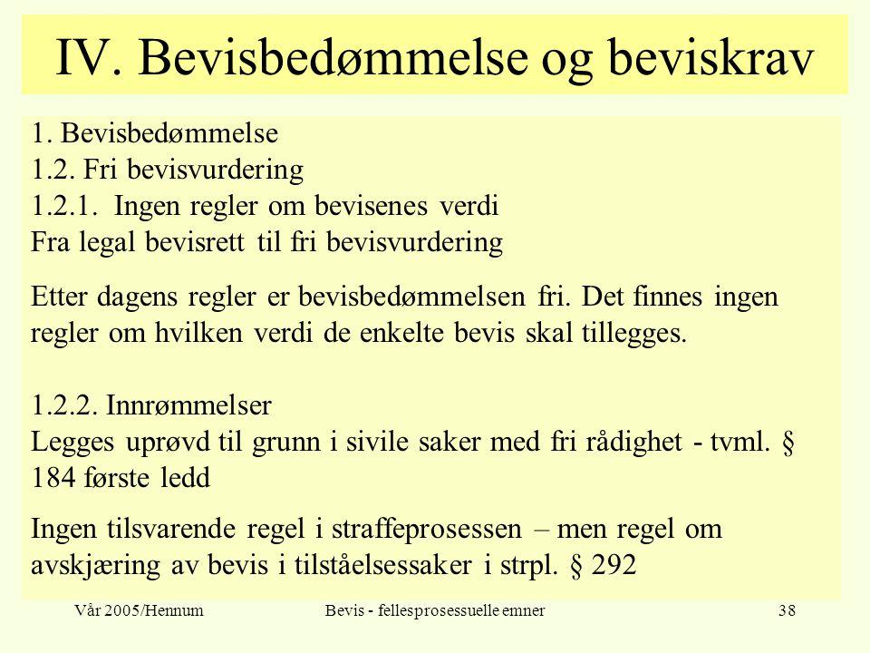 Vår 2005/HennumBevis - fellesprosessuelle emner38 IV. Bevisbedømmelse og beviskrav 1. Bevisbedømmelse 1.2. Fri bevisvurdering 1.2.1. Ingen regler om b
