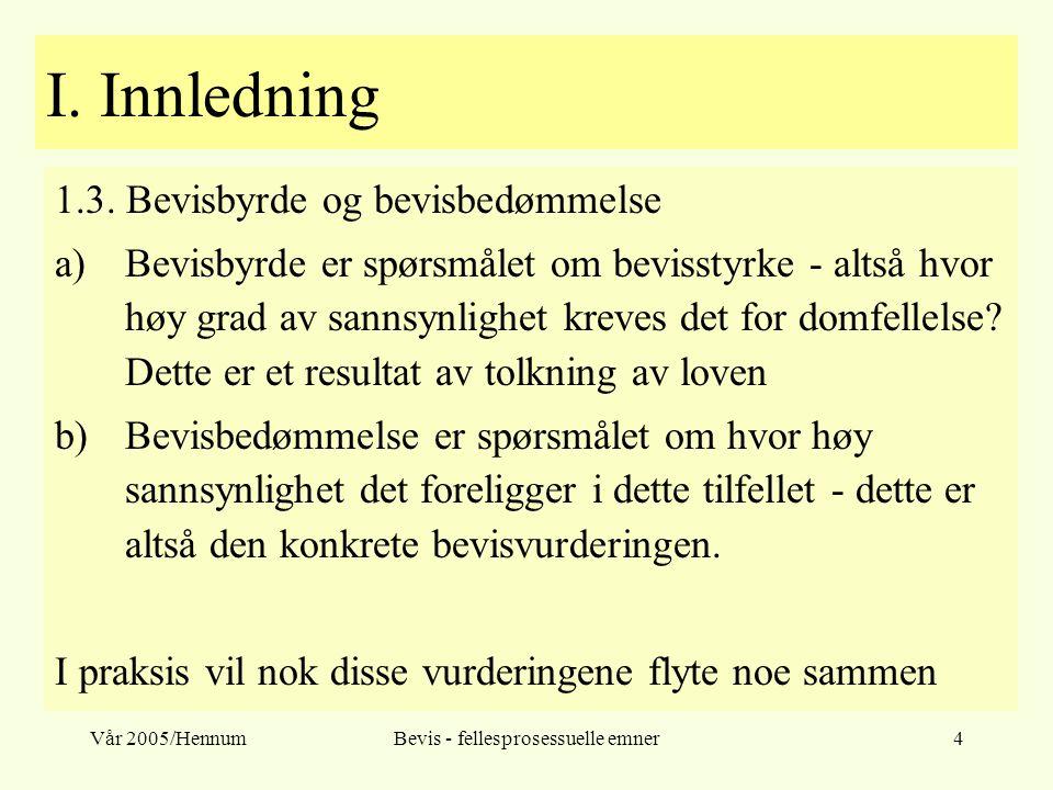 Vår 2005/HennumBevis - fellesprosessuelle emner4 I. Innledning 1.3. Bevisbyrde og bevisbedømmelse a)Bevisbyrde er spørsmålet om bevisstyrke - altså hv