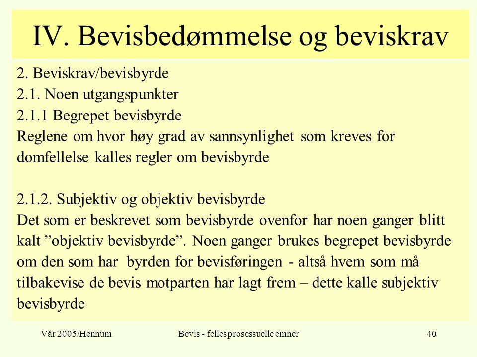 Vår 2005/HennumBevis - fellesprosessuelle emner40 IV. Bevisbedømmelse og beviskrav 2. Beviskrav/bevisbyrde 2.1. Noen utgangspunkter 2.1.1 Begrepet bev