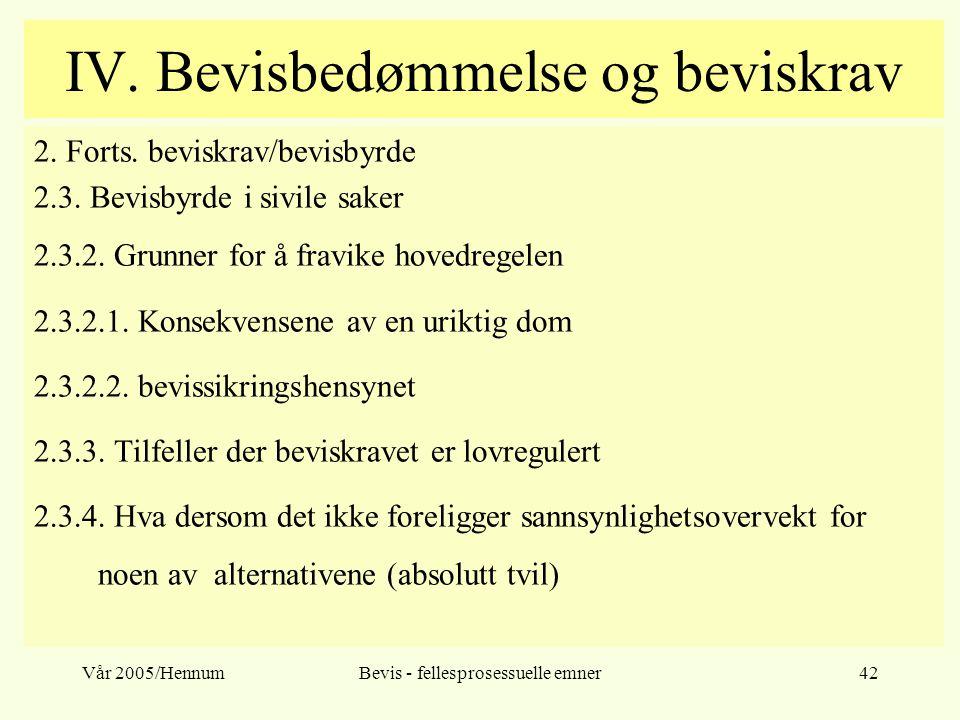 Vår 2005/HennumBevis - fellesprosessuelle emner42 IV. Bevisbedømmelse og beviskrav 2. Forts. beviskrav/bevisbyrde 2.3. Bevisbyrde i sivile saker 2.3.2