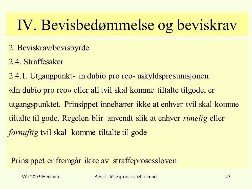 Vår 2005/HennumBevis - fellesprosessuelle emner43 IV. Bevisbedømmelse og beviskrav 2. Beviskrav/bevisbyrde 2.4. Straffesaker 2.4.1. Utgangpunkt- in du