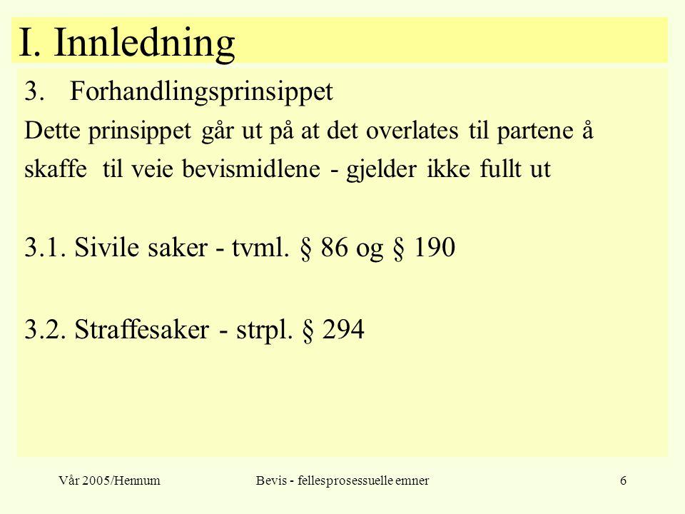Vår 2005/HennumBevis - fellesprosessuelle emner6 I. Innledning 3.Forhandlingsprinsippet Dette prinsippet går ut på at det overlates til partene å skaf
