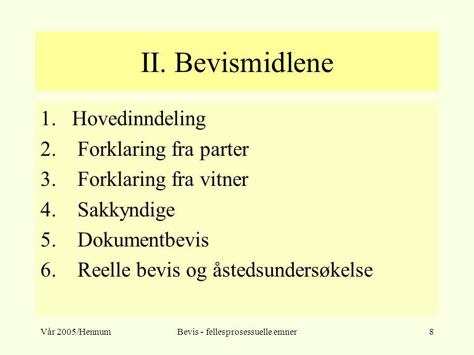 Vår 2005/HennumBevis - fellesprosessuelle emner8 II. Bevismidlene 1.Hovedinndeling 2. Forklaring fra parter 3. Forklaring fra vitner 4. Sakkyndige 5.