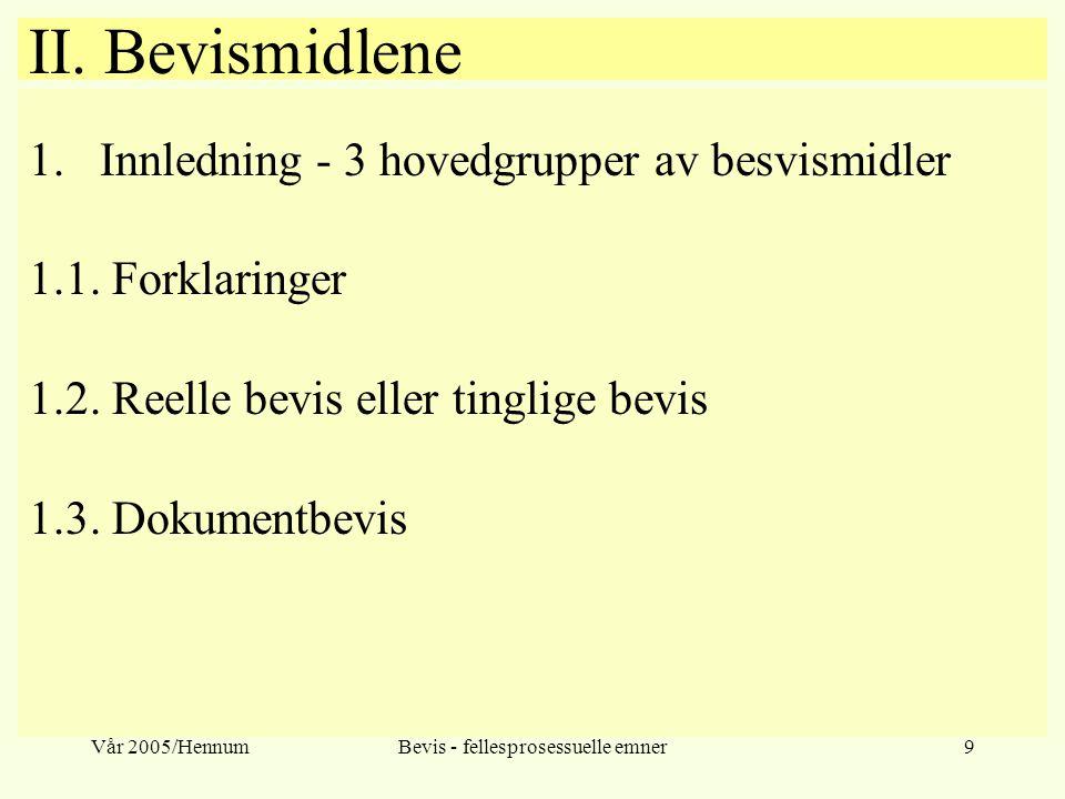Vår 2005/HennumBevis - fellesprosessuelle emner9 II. Bevismidlene 1.Innledning - 3 hovedgrupper av besvismidler 1.1. Forklaringer 1.2. Reelle bevis el