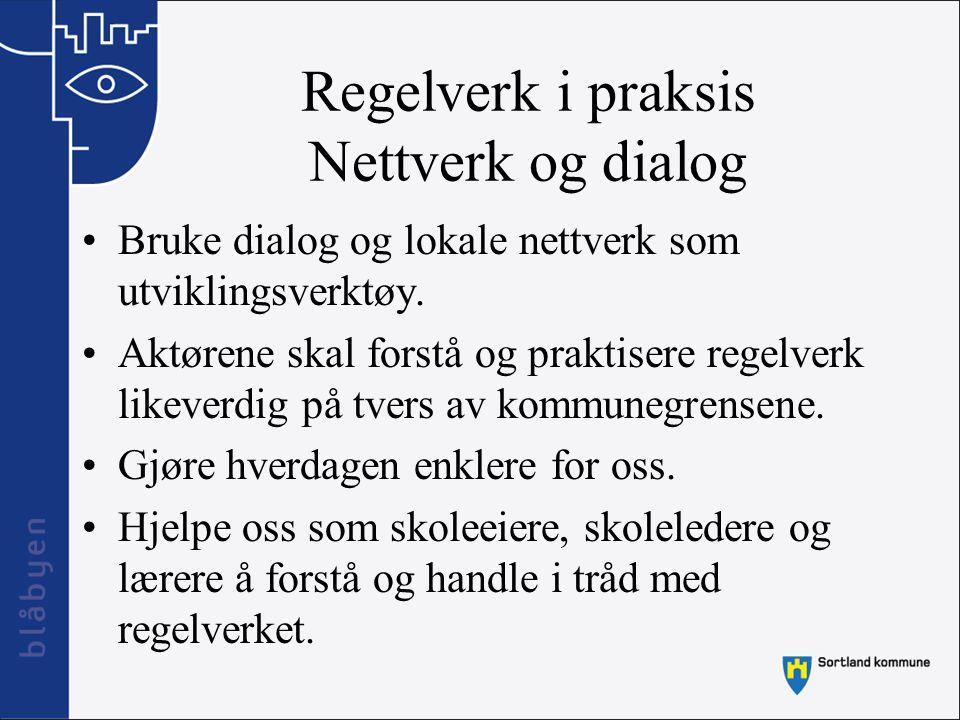 Regelverk i praksis Nettverk og dialog Bruke dialog og lokale nettverk som utviklingsverktøy. Aktørene skal forstå og praktisere regelverk likeverdig