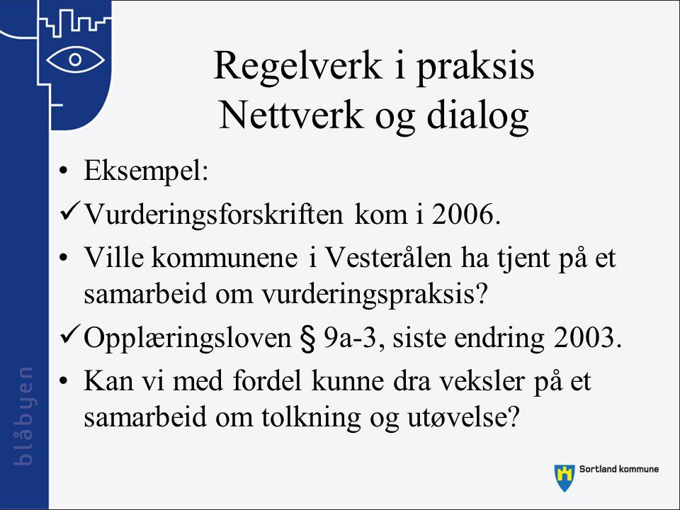 Regelverk i praksis Nettverk og dialog Eksempel: Vurderingsforskriften kom i 2006. Ville kommunene i Vesterålen ha tjent på et samarbeid om vurderings