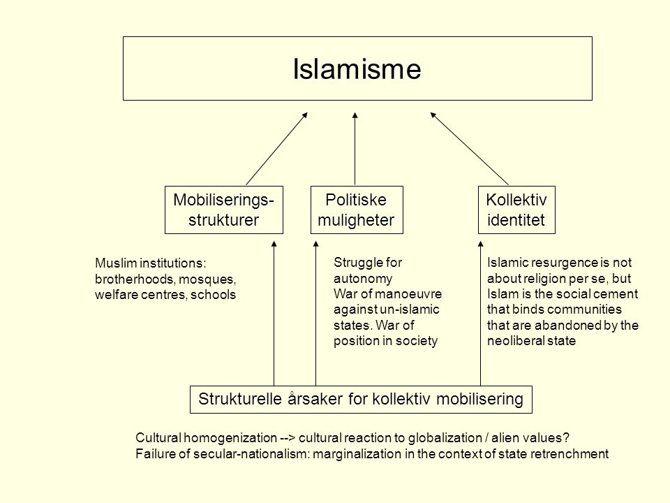 Islamisme Strukturelle årsaker for kollektiv mobilisering Mobiliserings-strukturerPolitiskemuligheterKollektividentitet Cultural homogenization --> cultural reaction to globalization / alien values.