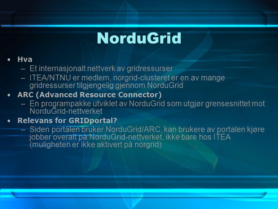 NorduGrid Hva –Et internasjonalt nettverk av gridressurser –ITEA/NTNU er medlem, norgrid-clusteret er en av mange gridressurser tilgjengelig gjennom NorduGrid ARC (Advanced Resource Connector) –En programpakke utviklet av NorduGrid som utgjør grensesnittet mot NorduGrid-nettverket Relevans for GRIDportal.