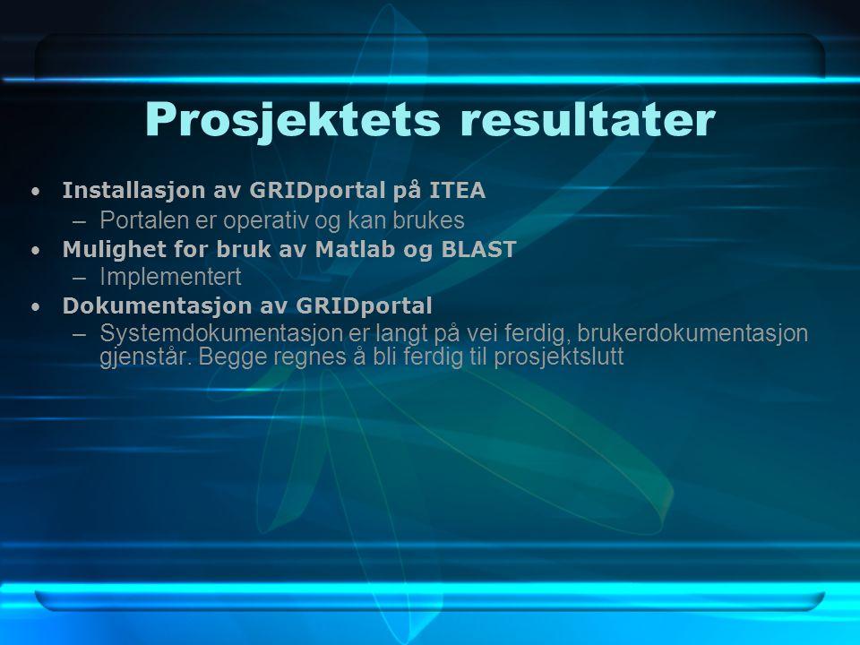 Prosjektets resultater Installasjon av GRIDportal på ITEA –Portalen er operativ og kan brukes Mulighet for bruk av Matlab og BLAST –Implementert Dokumentasjon av GRIDportal –Systemdokumentasjon er langt på vei ferdig, brukerdokumentasjon gjenstår.