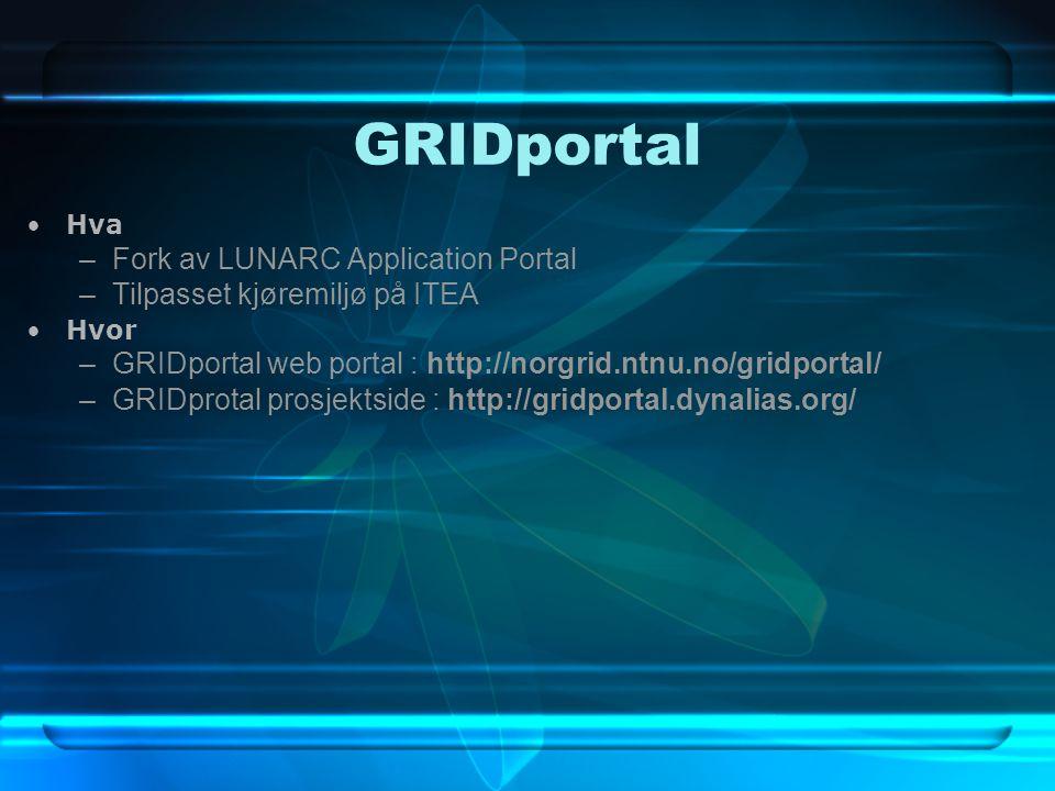GRIDportal Hva –Fork av LUNARC Application Portal –Tilpasset kjøremiljø på ITEA Hvor –GRIDportal web portal : http://norgrid.ntnu.no/gridportal/ –GRIDprotal prosjektside : http://gridportal.dynalias.org/