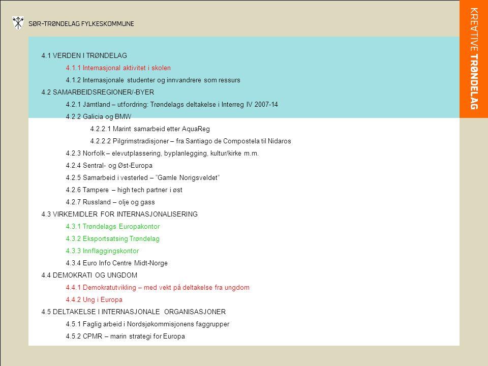 4.1 VERDEN I TRØNDELAG 4.1.1 Internasjonal aktivitet i skolen 4.1.2 Internasjonale studenter og innvandrere som ressurs 4.2 SAMARBEIDSREGIONER/-BYER 4.2.1 Jämtland – utfordring: Trøndelags deltakelse i Interreg IV 2007-14 4.2.2 Galicia og BMW 4.2.2.1 Marint samarbeid etter AquaReg 4.2.2.2 Pilgrimstradisjoner – fra Santiago de Compostela til Nidaros 4.2.3 Norfolk – elevutplassering, byplanlegging, kultur/kirke m.m.