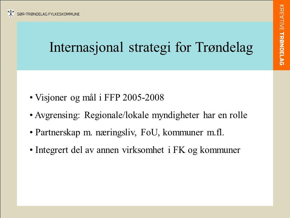 Internasjonal strategi for Trøndelag Visjoner og mål i FFP 2005-2008 Avgrensing: Regionale/lokale myndigheter har en rolle Partnerskap m.