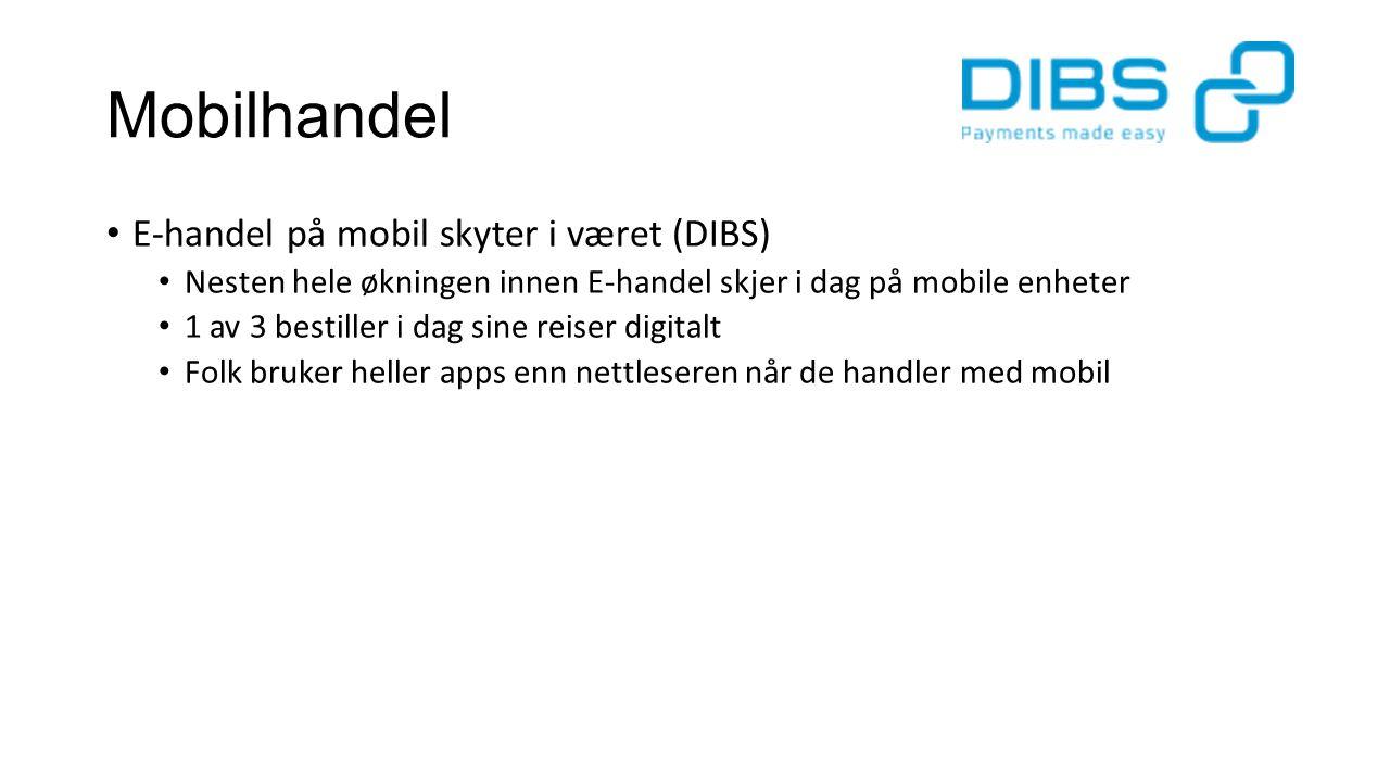 Mobilhandel E-handel på mobil skyter i været (DIBS) Nesten hele økningen innen E-handel skjer i dag på mobile enheter 1 av 3 bestiller i dag sine reiser digitalt Folk bruker heller apps enn nettleseren når de handler med mobil