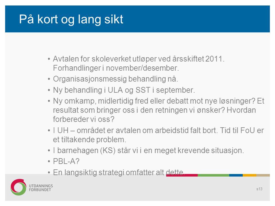 På kort og lang sikt Avtalen for skoleverket utløper ved årsskiftet 2011. Forhandlinger i november/desember. Organisasjonsmessig behandling nå. Ny beh