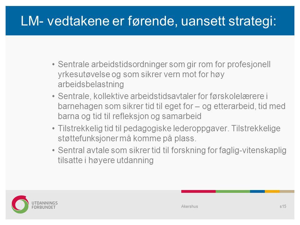 LM- vedtakene er førende, uansett strategi: Sentrale arbeidstidsordninger som gir rom for profesjonell yrkesutøvelse og som sikrer vern mot for høy ar