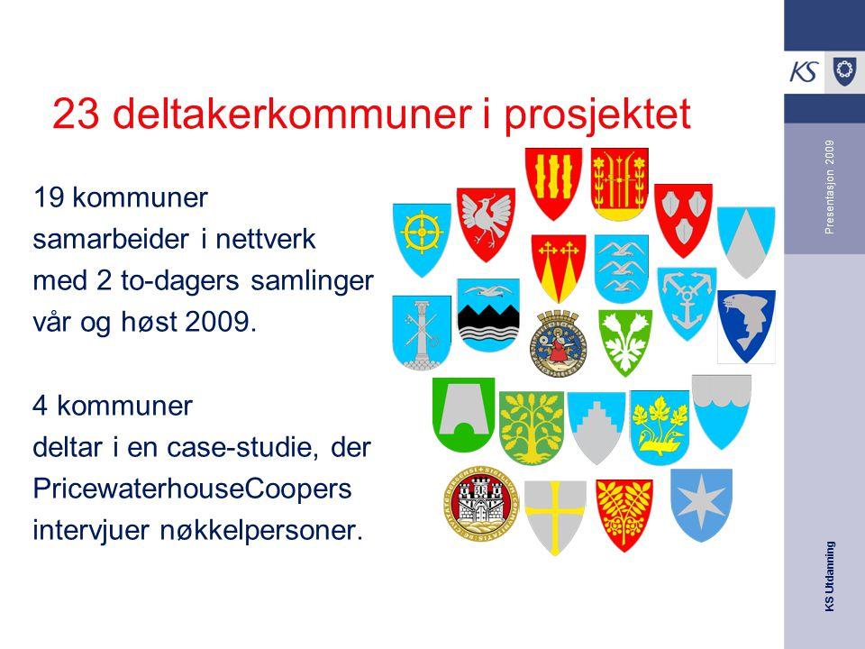 KS Utdanning Presentasjon 2009 23 deltakerkommuner i prosjektet 19 kommuner samarbeider i nettverk med 2 to-dagers samlinger vår og høst 2009. 4 kommu