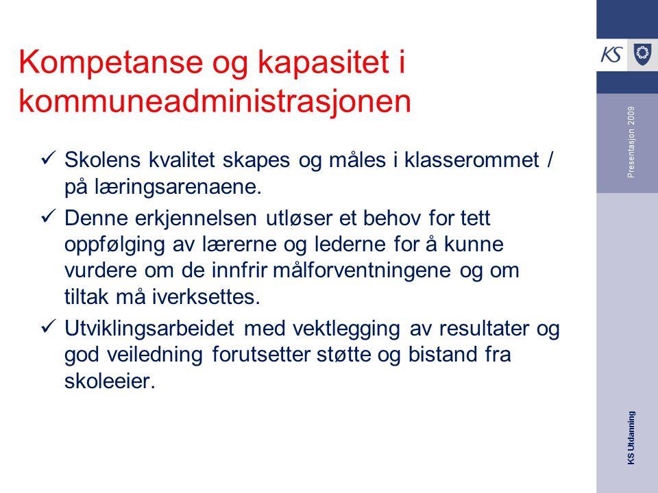 KS Utdanning Presentasjon 2009 Kompetanse og kapasitet i kommuneadministrasjonen Skolens kvalitet skapes og måles i klasserommet / på læringsarenaene.