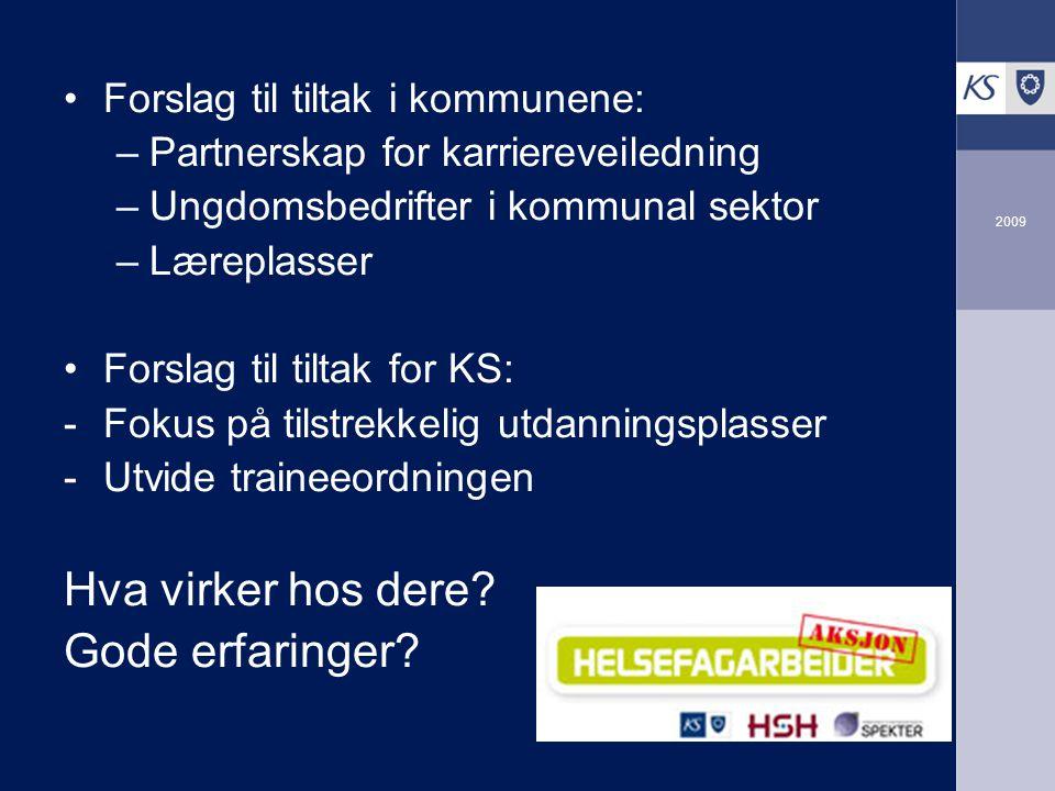 2009 Forslag til tiltak i kommunene: –Partnerskap for karriereveiledning –Ungdomsbedrifter i kommunal sektor –Læreplasser Forslag til tiltak for KS: -Fokus på tilstrekkelig utdanningsplasser -Utvide traineeordningen Hva virker hos dere.