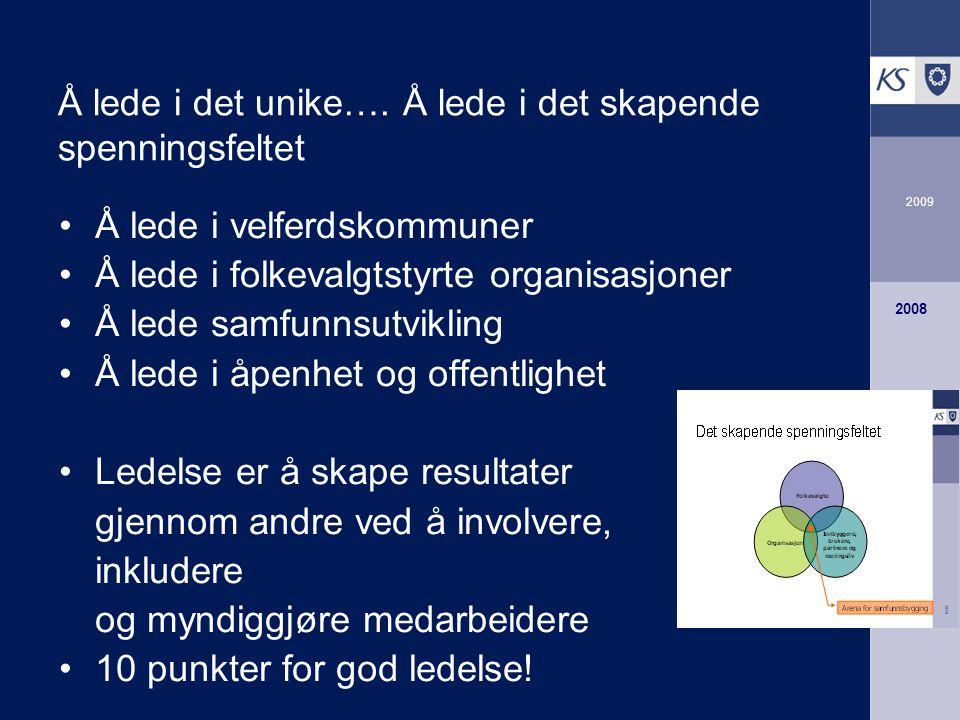 2009 2008 Å lede i det unike….