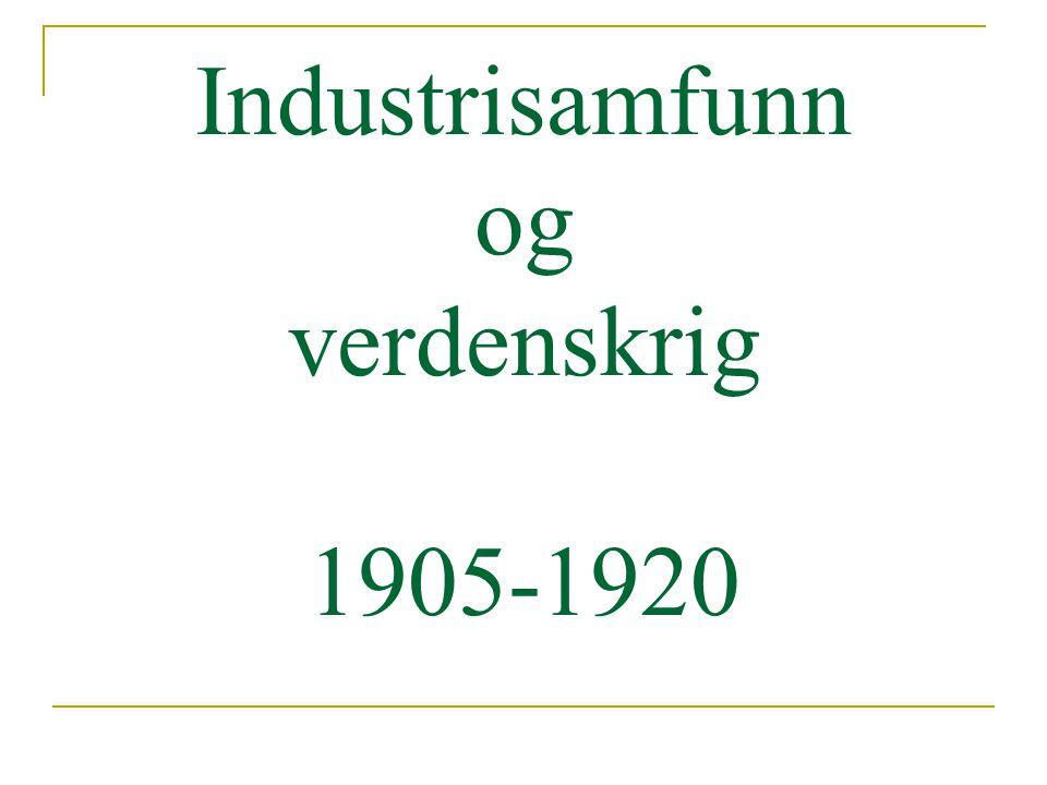 Perioden 1905 – 1920 Økonomisk vekst Et vikende bondesamfunn Storindustriens gjennombrudd Sosiale og økonomiske konflikter Konfliktene formet det politiske landskapet Første verdenskrig