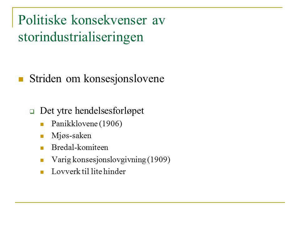 Politiske konsekvenser av storindustrialiseringen Striden om konsesjonslovene  Det ytre hendelsesforløpet Panikklovene (1906) Mjøs-saken Bredal-komit