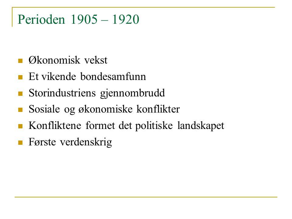 Perioden 1905 – 1920 Økonomisk vekst Et vikende bondesamfunn Storindustriens gjennombrudd Sosiale og økonomiske konflikter Konfliktene formet det poli