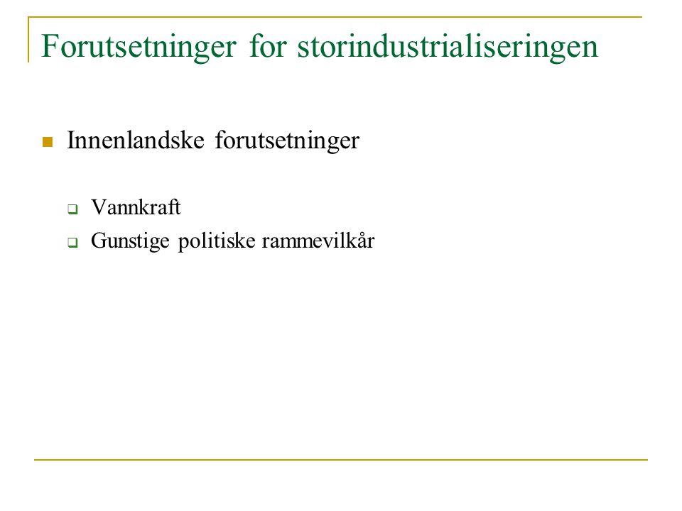 Forutsetninger for storindustrialiseringen Innenlandske forutsetninger  Vannkraft  Gunstige politiske rammevilkår