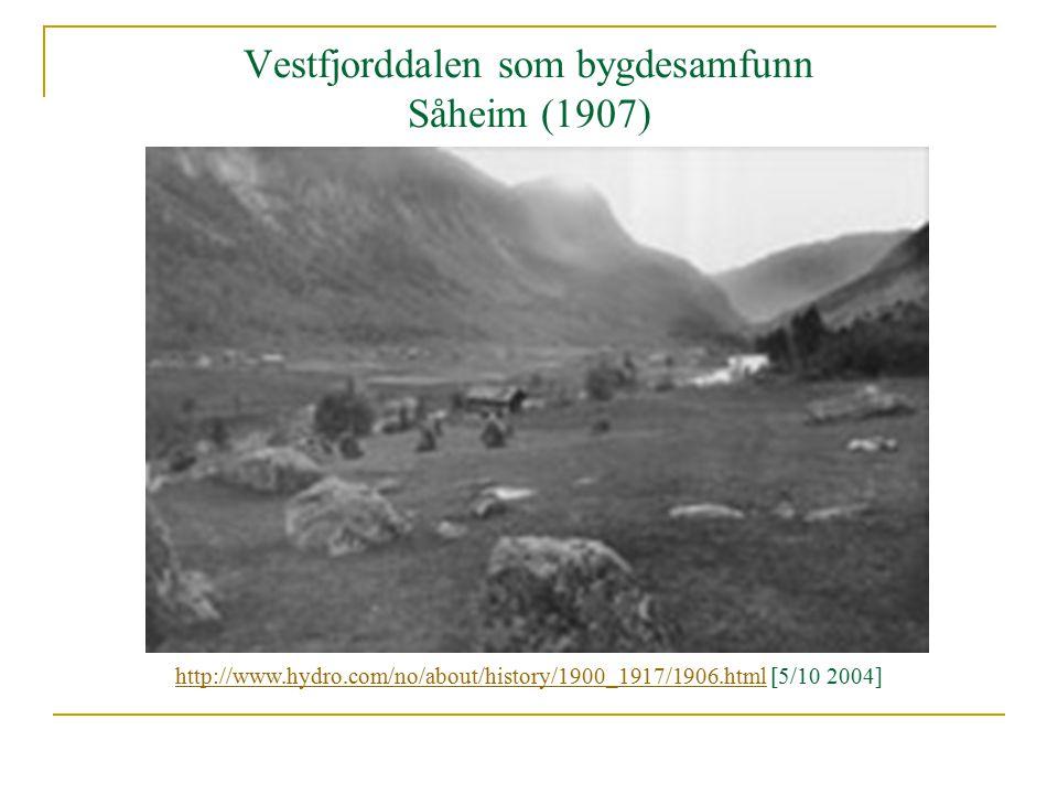Vestfjorddalen som bygdesamfunn Såheim (1907) http://www.hydro.com/no/about/history/1900_1917/1906.htmlhttp://www.hydro.com/no/about/history/1900_1917