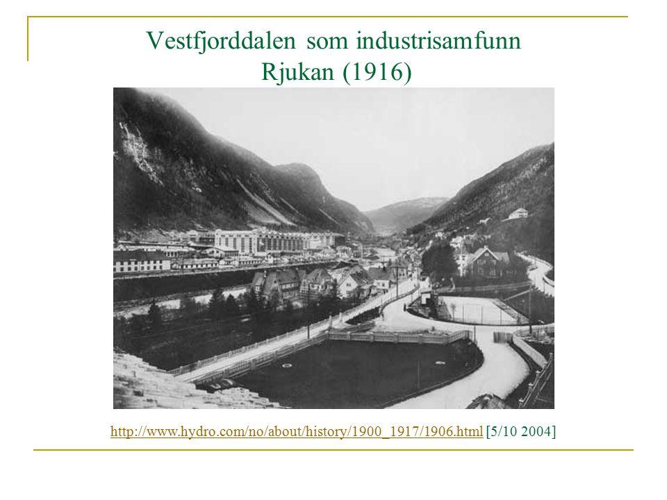 Vestfjorddalen som industrisamfunn Rjukan (1916) http://www.hydro.com/no/about/history/1900_1917/1906.htmlhttp://www.hydro.com/no/about/history/1900_1