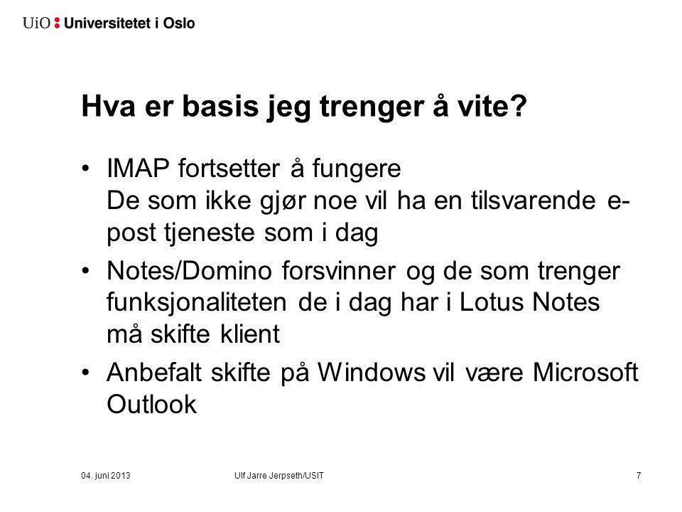 Finne ledig tid: Scheduling Assistant 18 04. juni 2013 Ulf Jarre Jerpseth/USIT
