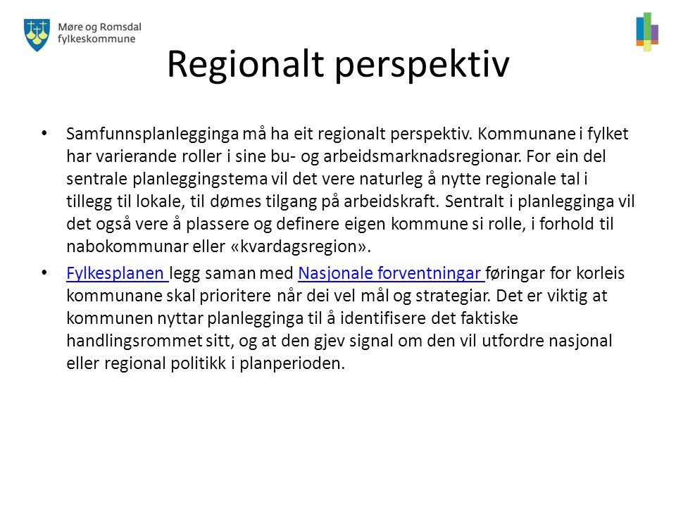 Regionalt perspektiv Samfunnsplanlegginga må ha eit regionalt perspektiv. Kommunane i fylket har varierande roller i sine bu- og arbeidsmarknadsregion