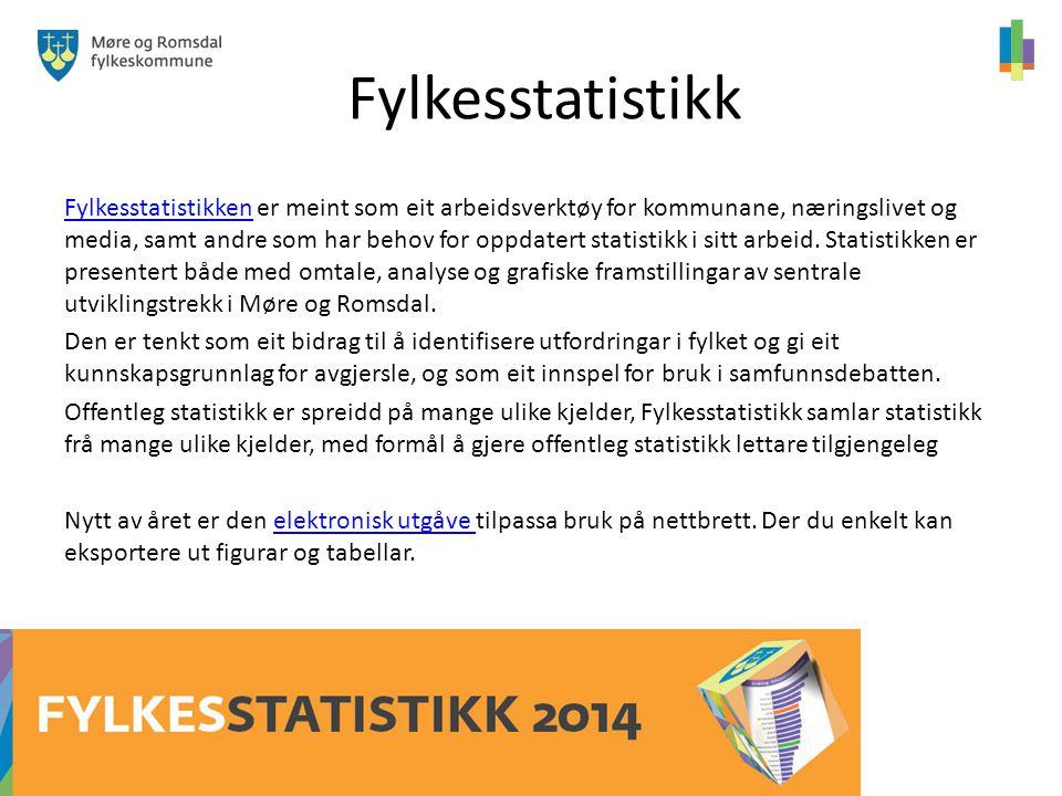 Fylkesstatistikk FylkesstatistikkenFylkesstatistikken er meint som eit arbeidsverktøy for kommunane, næringslivet og media, samt andre som har behov for oppdatert statistikk i sitt arbeid.