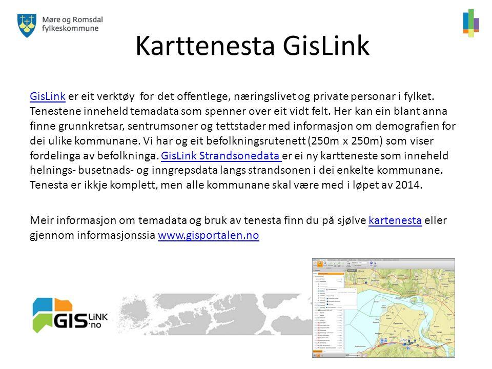 Karttenesta GisLink GisLinkGisLink er eit verktøy for det offentlege, næringslivet og private personar i fylket. Tenestene inneheld temadata som spenn
