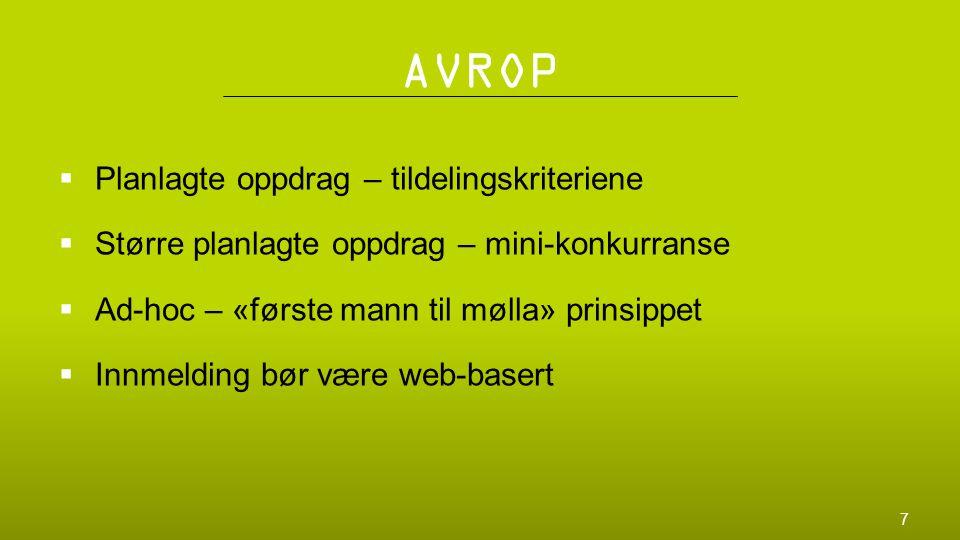 AVROP  Planlagte oppdrag – tildelingskriteriene  Større planlagte oppdrag – mini-konkurranse  Ad-hoc – «første mann til mølla» prinsippet  Innmeld
