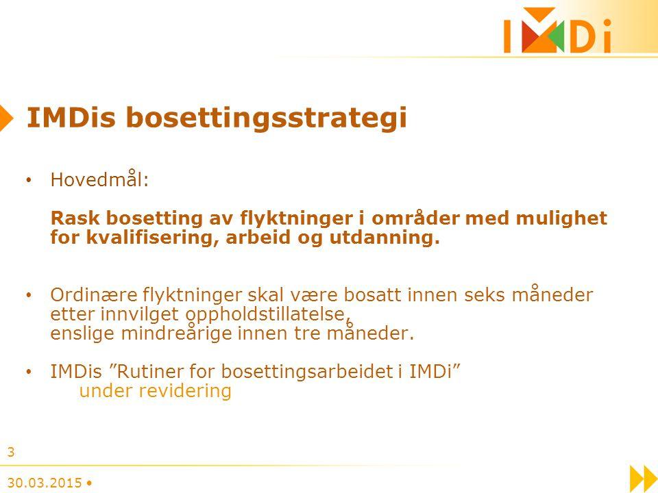 IMDis bosettingsstrategi Hovedmål: Rask bosetting av flyktninger i områder med mulighet for kvalifisering, arbeid og utdanning. Ordinære flyktninger s