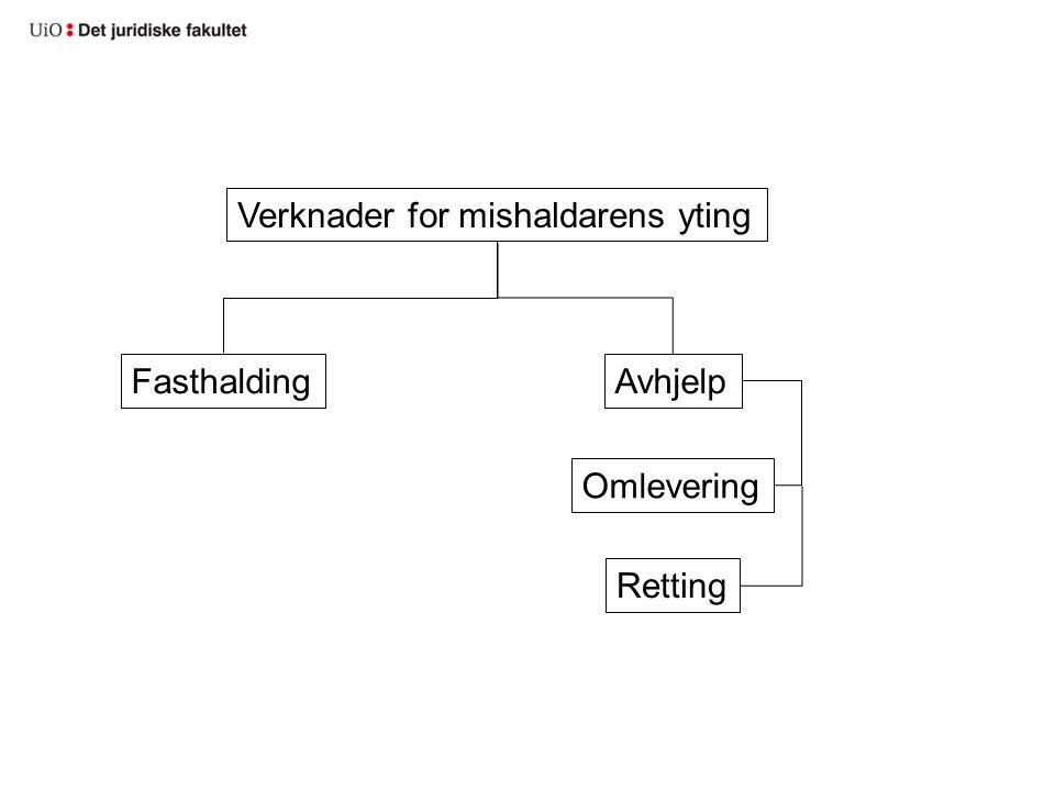 Verknader for mishaldarens yting Retting Omlevering AvhjelpFasthalding