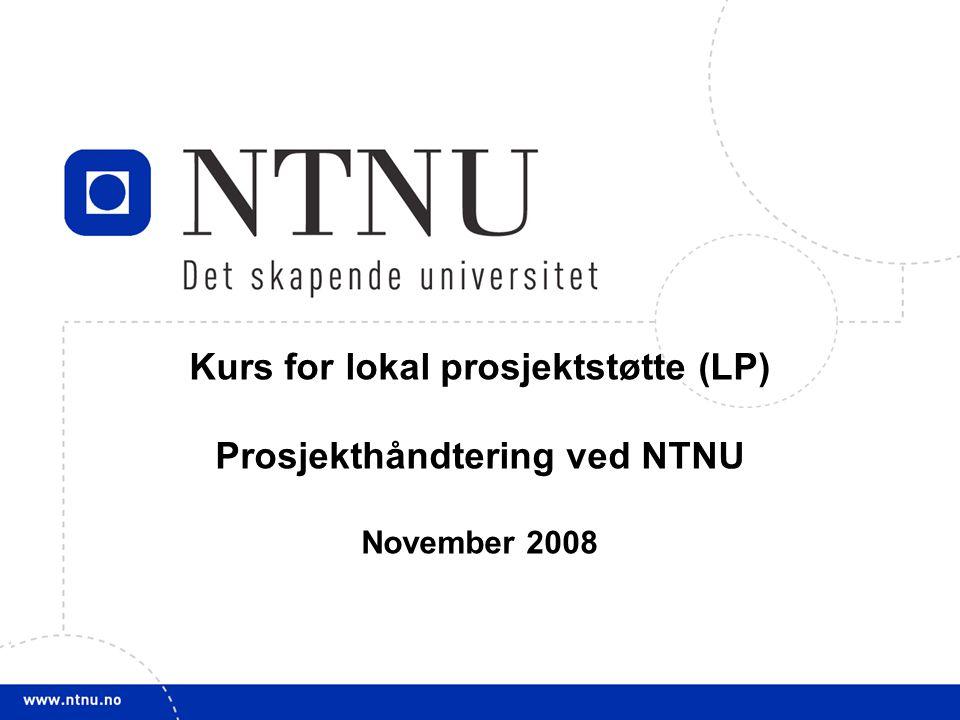 11 Kurs for lokal prosjektstøtte (LP) Prosjekthåndtering ved NTNU November 2008