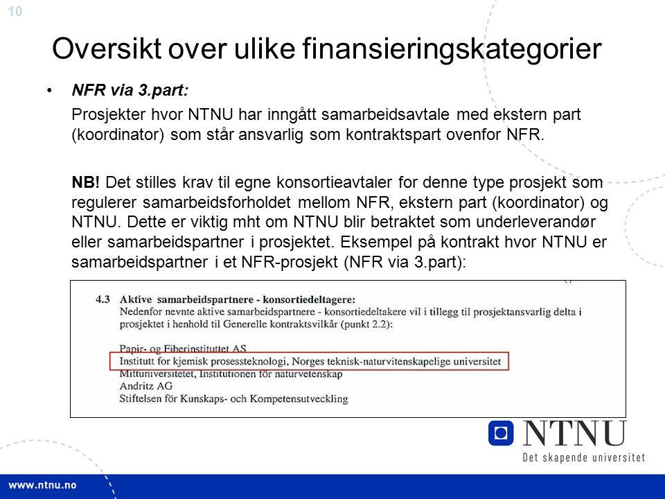 10 Oversikt over ulike finansieringskategorier NFR via 3.part: Prosjekter hvor NTNU har inngått samarbeidsavtale med ekstern part (koordinator) som st