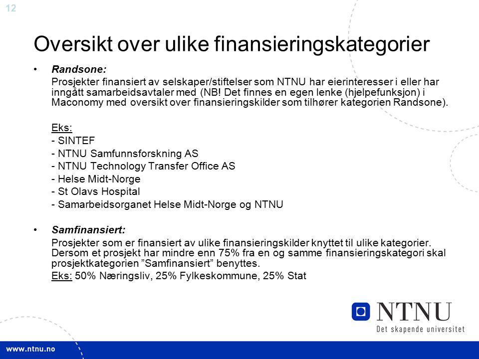 12 Oversikt over ulike finansieringskategorier Randsone: Prosjekter finansiert av selskaper/stiftelser som NTNU har eierinteresser i eller har inngått
