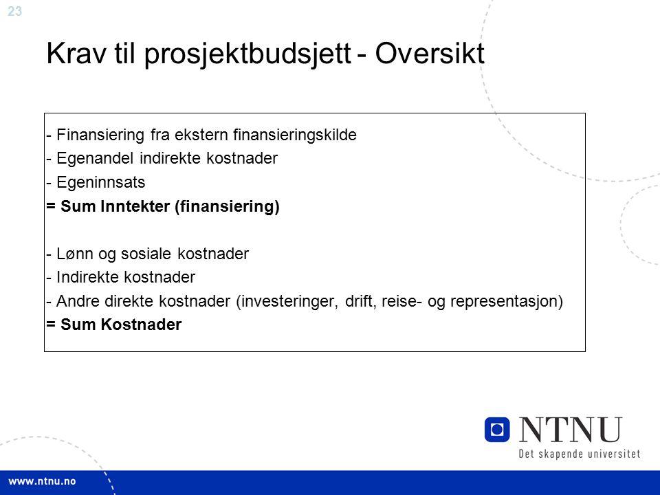 23 - Finansiering fra ekstern finansieringskilde - Egenandel indirekte kostnader - Egeninnsats = Sum Inntekter (finansiering) - Lønn og sosiale kostna