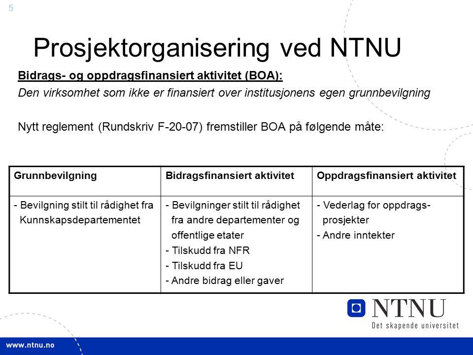 55 Prosjektorganisering ved NTNU Bidrags- og oppdragsfinansiert aktivitet (BOA): Den virksomhet som ikke er finansiert over institusjonens egen grunnb